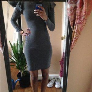 Bodycon grey long sleeve midi dress with high neck